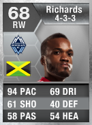 Dane Richards 68 - FIFA 13 Ultimate Team Card - FUT 13