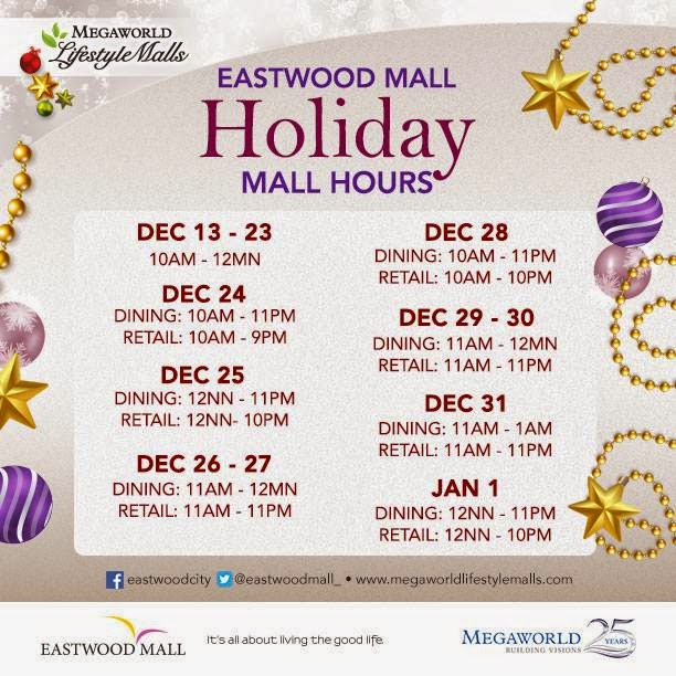 Eastwood Mall Hours Schedule Christmas 2014