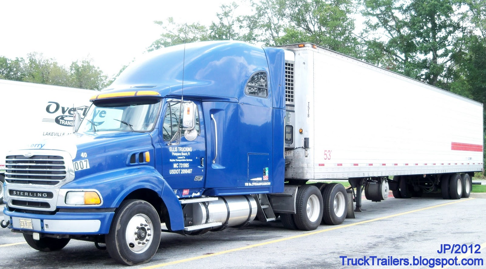 Ellis trucking pompano beach florida sterling sleeper cab truck 53 refrigerated trailer leased to skyline transportation services