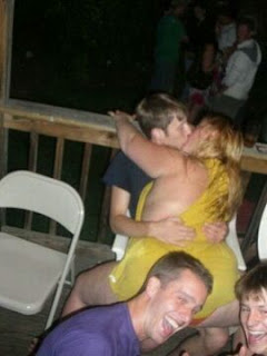 drunken friend making out with fat girl at the party