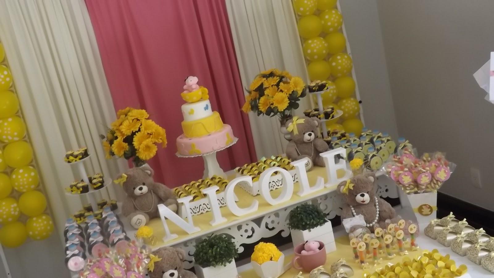decoracao azul e amarelo para cha de bebe:SARA CORDEIRO FESTAS: Chá de bebê Ursa Marrom Amarelo e Rosa