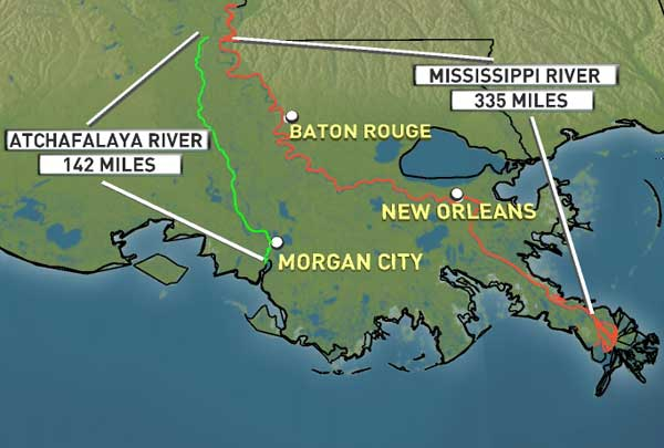 Above: Graphic showing the Atchafalaya and Mississippi Rivers and ...
