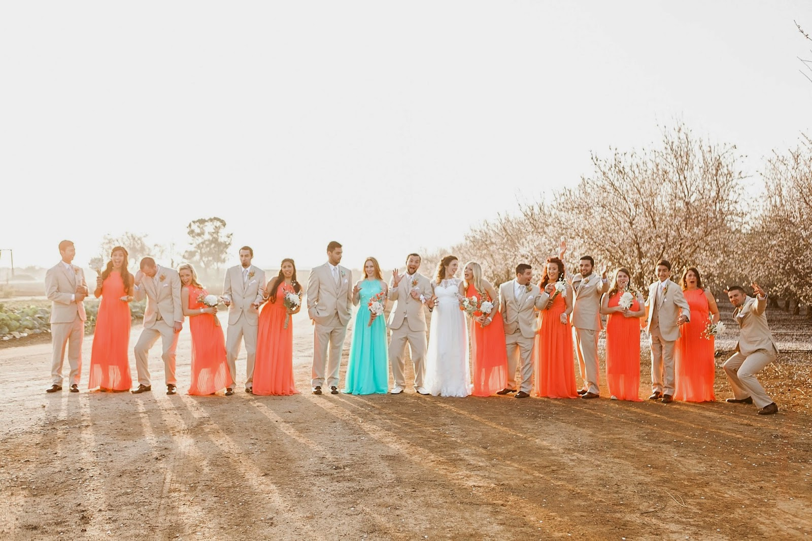 vista ranch and cellars, vista merced, vista ranch merced, , garden wedding, spring outdoor wedding, diy spring wedding, almond blossom wedding, etsy wedding dress, vintage wedding dress, ethereal wedding dress, simple wedding dress, antique wedding dress, diy coral and turquoise wedding, coral and turquoise bridesmaid dress, long bridesmaid dress, tan wedding suits, tan and coral wedding