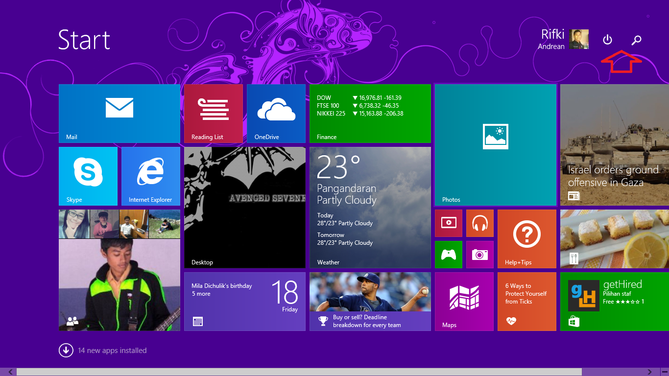 Menu shutdown muncul distart windows 8.1