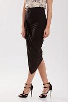Fusta neagra din jerse asimetrica FN10 (Ama Fashion)