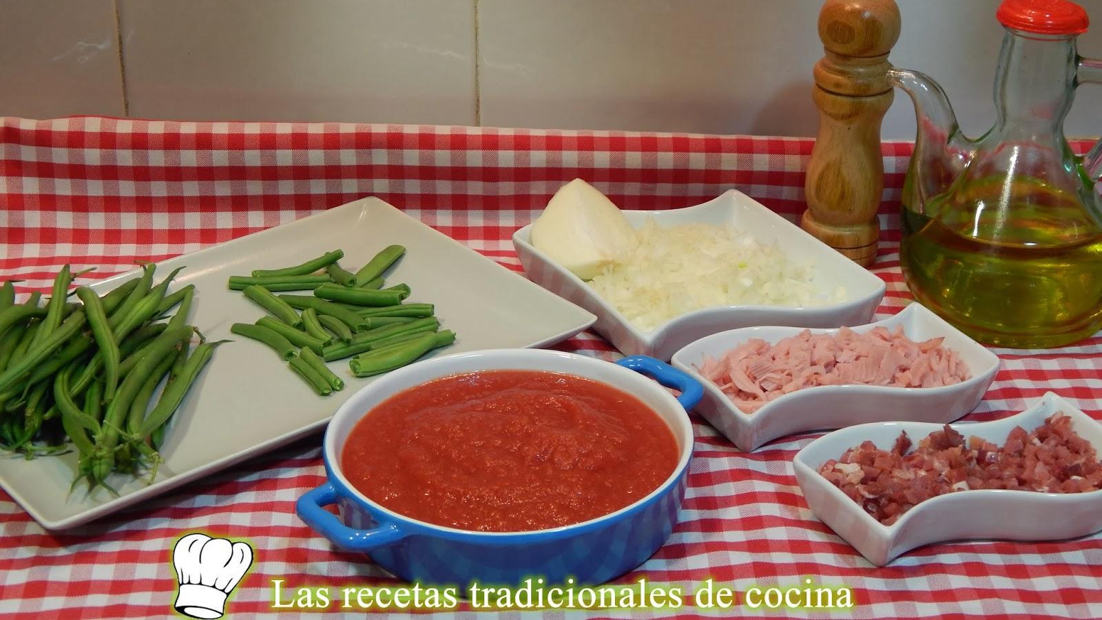 Receta de judías con tomate y jamón