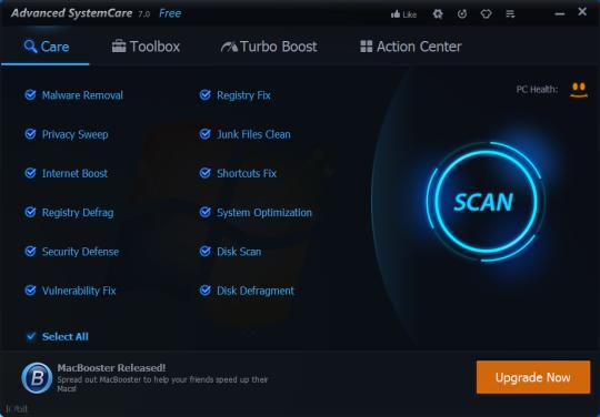 تحميل برنامج تحسين وتسريع وإصلاح الكمبيوتر بأحدث إصدار Advanced SystemCare V 7.2.1