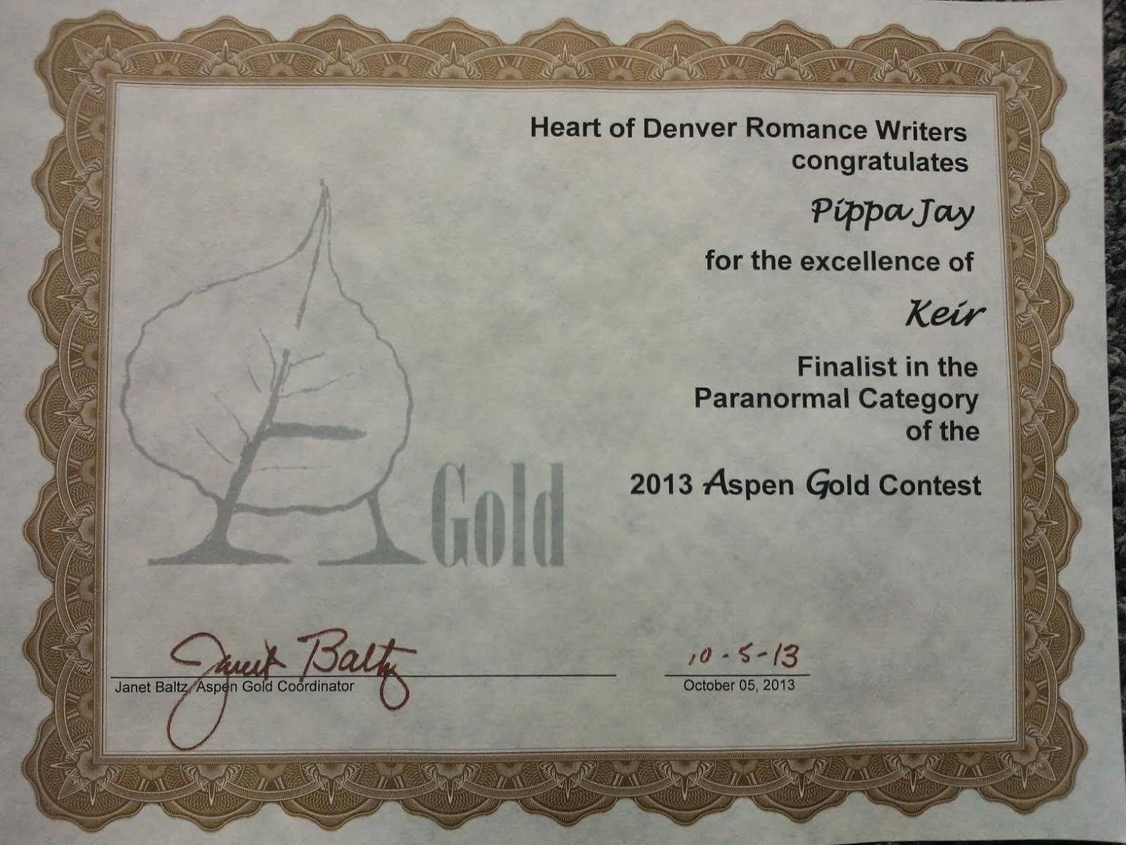 2013 Aspen Gold Finalist (3rd)