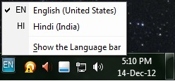 Change typing language in Windows 7
