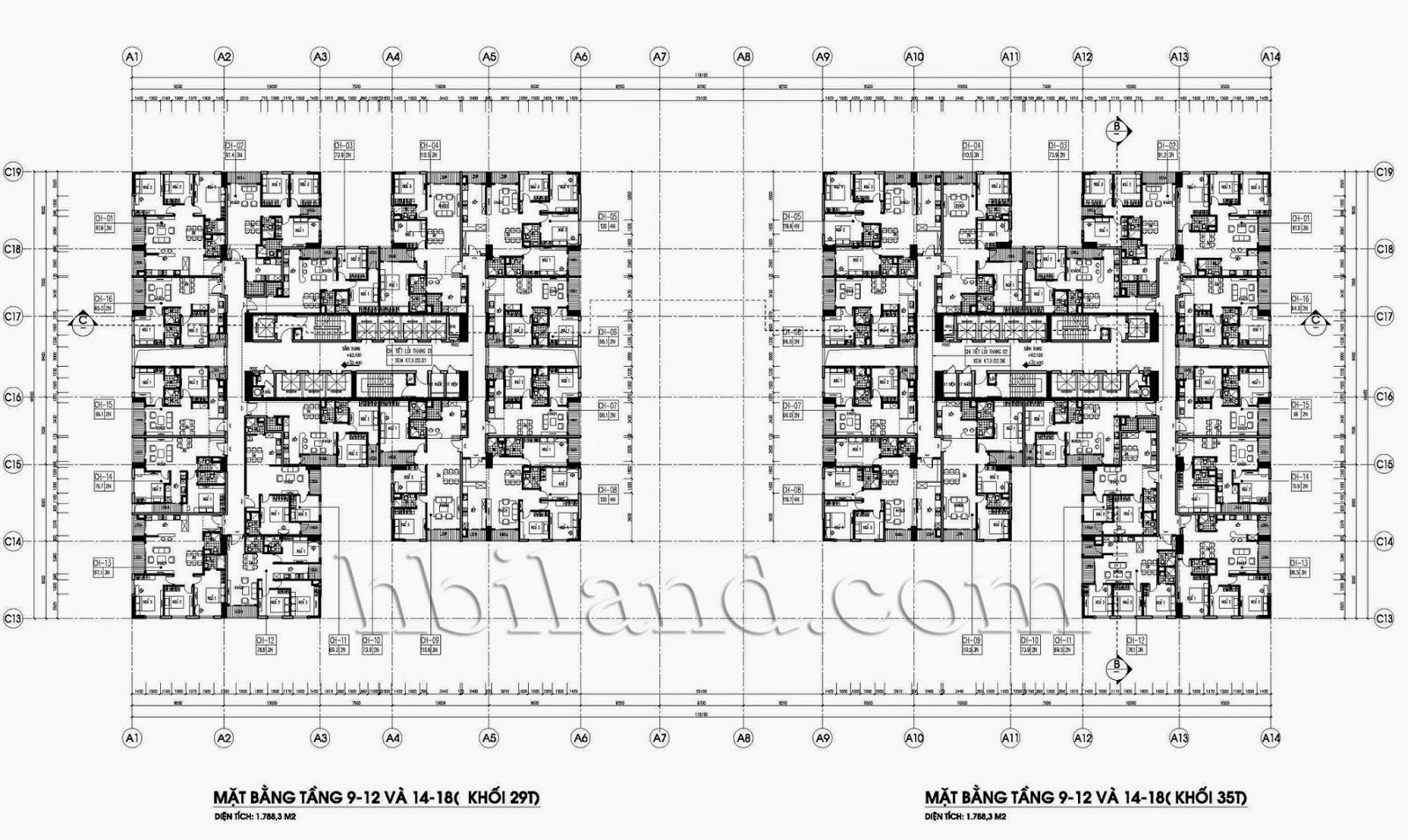 Mặt bằng tầng căn hộ điển hình tòa 29T-A chung cư imperia garden 203 nguyễn huy tưởng