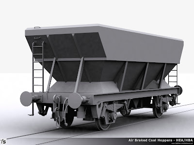 Fastline Simulation - HBA Hopper: Progress render of the HBA Hopper for RailWorks Train Simulator 2012. The wagon represents one of the considerably more numerous variants of the wagons in as built condition with an offset access ladder and two footsteps with long link suspension.