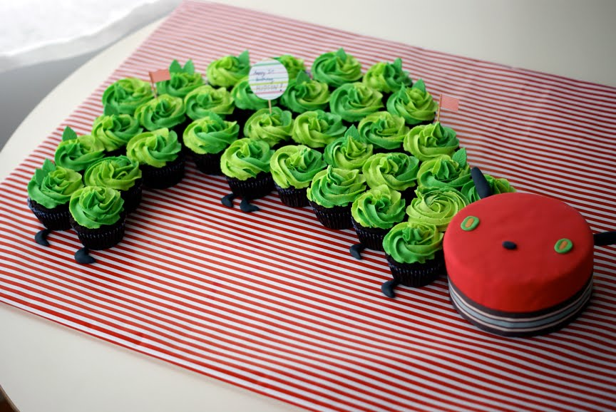 very hungry caterpillar cake cupcakes