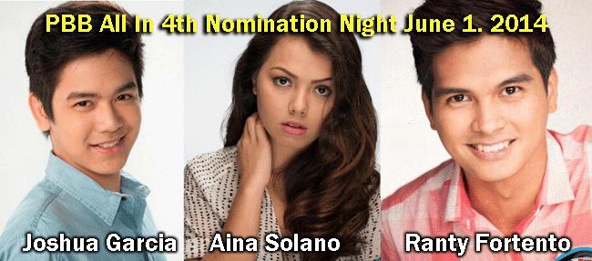 PBB All In 4th Nomination Night June 1. 2014 Ranty Fortento, Aina Solano, and Joshua Garcia
