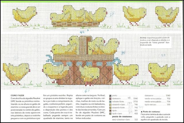 gráfico ponto cruz galinha
