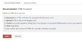 Verifikasi Webmaster google