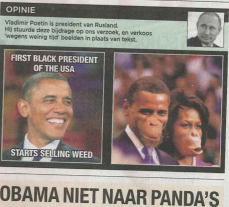 The FICKLIN MEDIA GROUP,LLC: Belgian Newspaper Accused Of Racism For Picture Of Obama And Michelle As Apes
