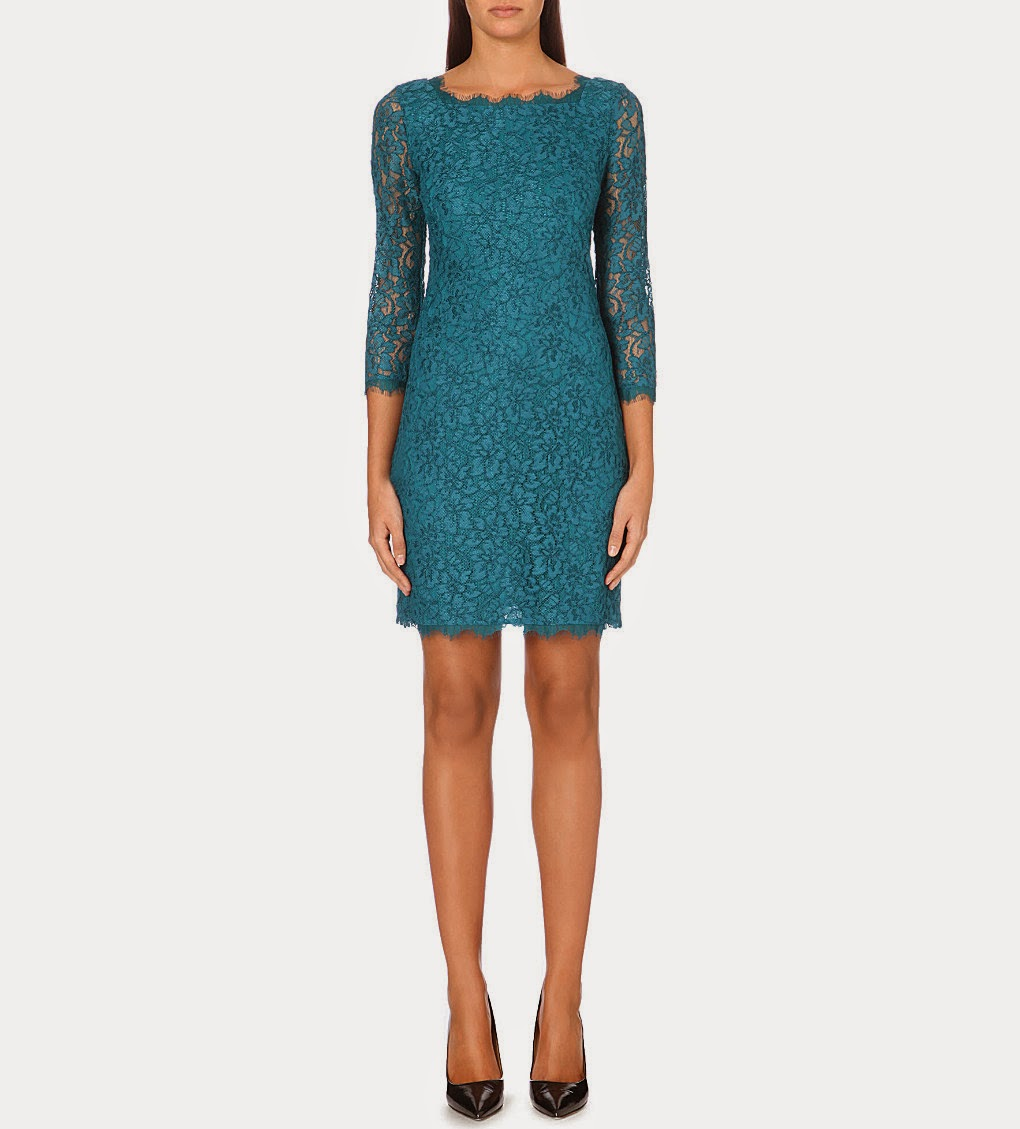 dvf teal lace dress