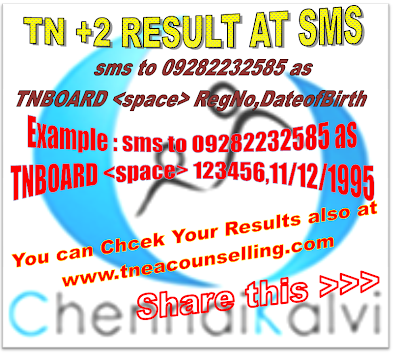 Tamilnadu +2 Results 2014 By SMS and Tneacounselling.com