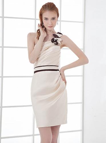 http://www.artweddings.com/floral-one-shoulder-short-satin-bridesmaid-dress-with-contrasting-sash-color-apple-awlftskun068-en/