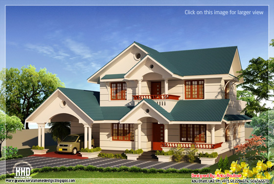 4 Bhk Sloping Roof Home Design 2210 Kerala Home Design Kerala House Plans Home