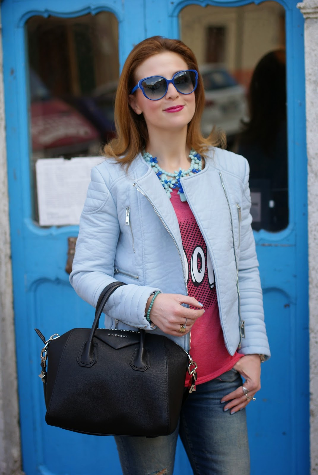 Zara pastel blue faux leather biker jacket, Givenchy Antigona bag, Fashion and Cookies, fashion blogger
