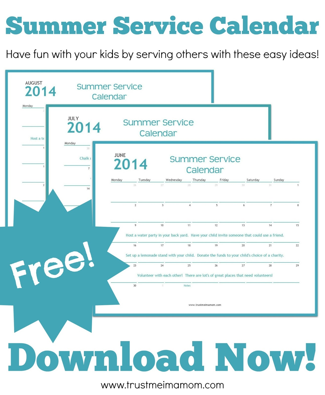 Download a free Summer Service Advent Calendar filled with easy ideas for how you can serve with your kids this Summer!