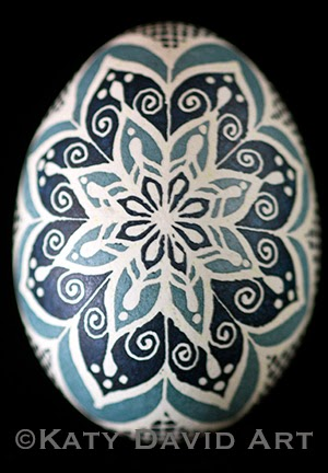 Blue and Gray-Blue Filigree design Modern Pysanky ©Katy David Art