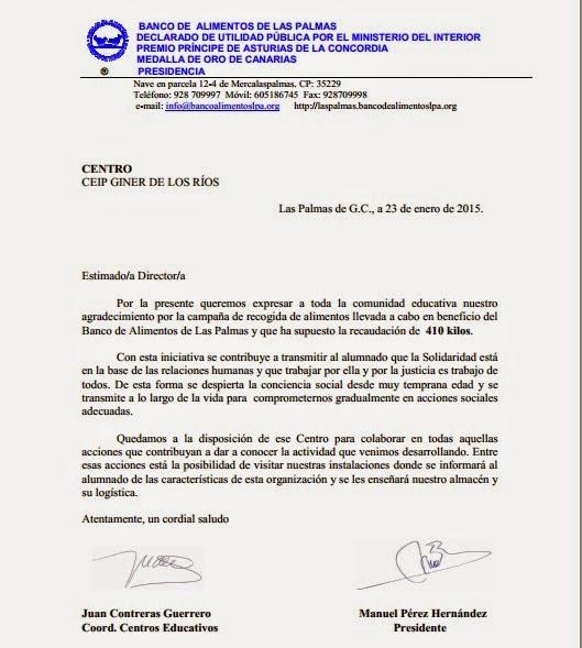 Ceip giner de los r os las palmas de gran canaria banco de alimentos 410 kilos de solidaridad - Banco de alimentos de las palmas ...