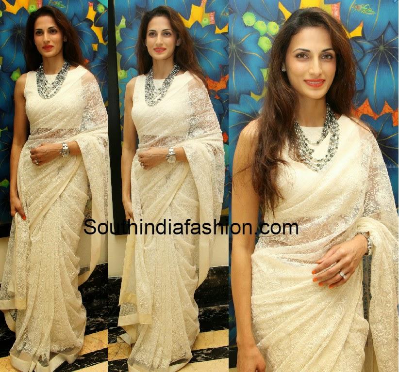 shilpa reddy in white saree