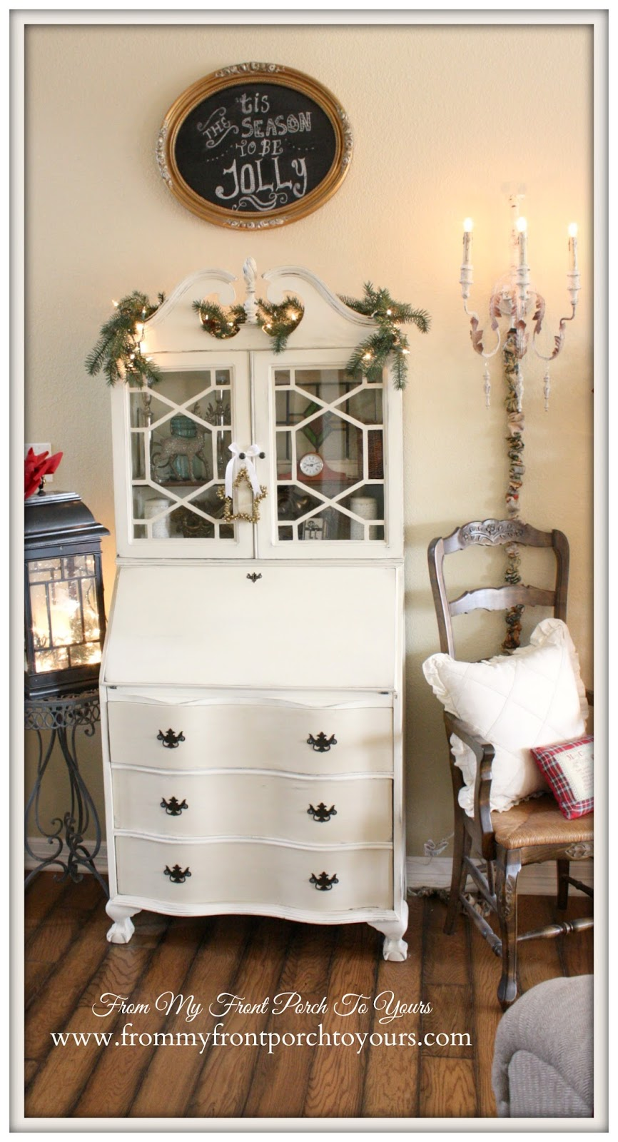 Vintage Secretary-Farmhouse Vintage Christmas Living Room- From My Front Porch To Yours