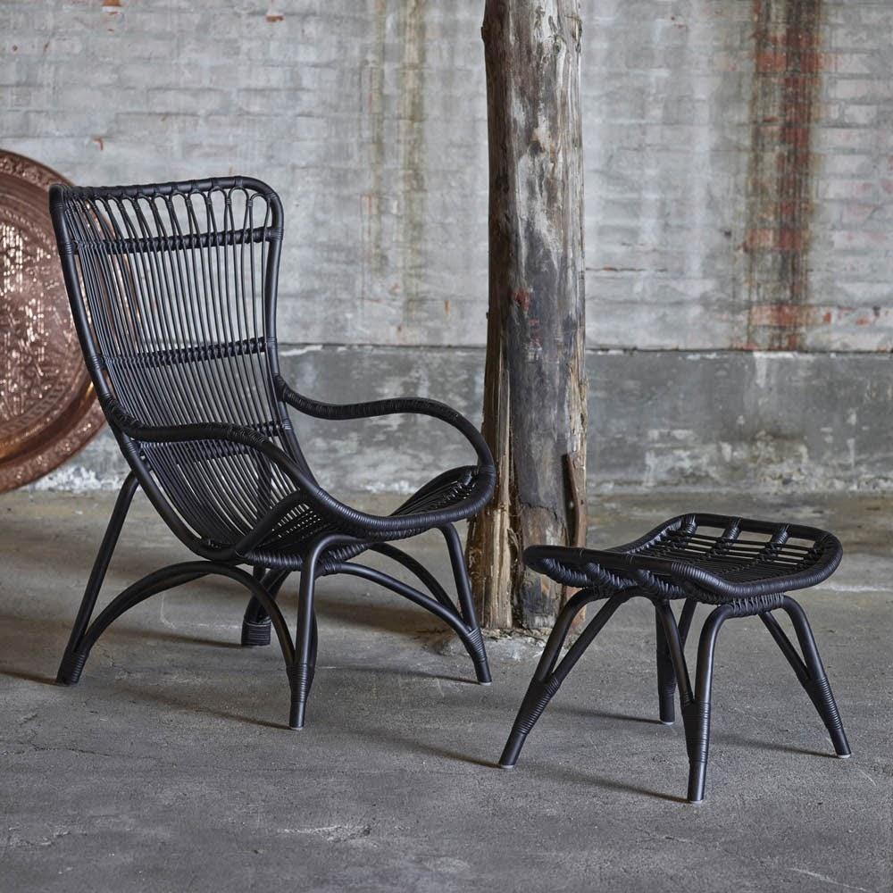 la fabrique d co fauteuil vintage en rotin noir. Black Bedroom Furniture Sets. Home Design Ideas