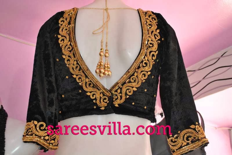 Zardosi Work Designs On Blouses 114