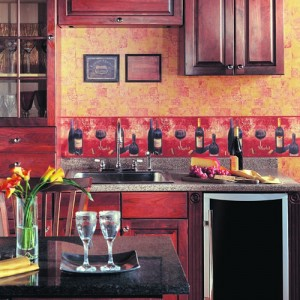 Kitchen wallpaper borders wine