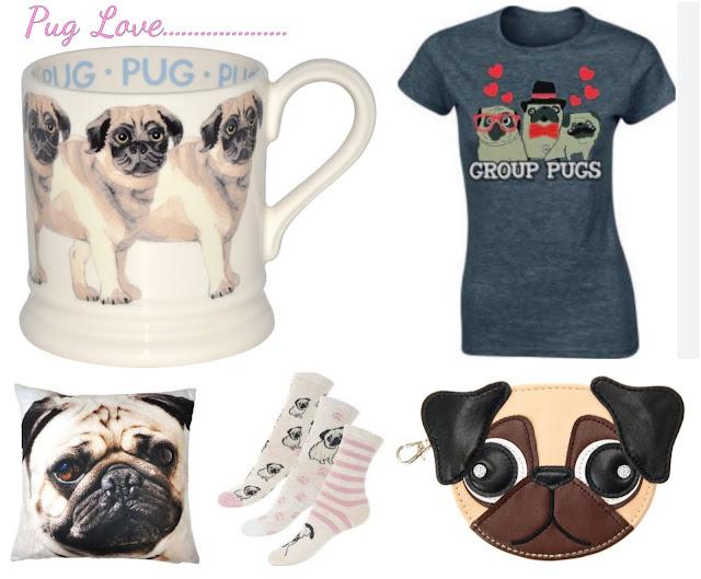 pug dog gifts wish list mug cushion socks t-shirt purse