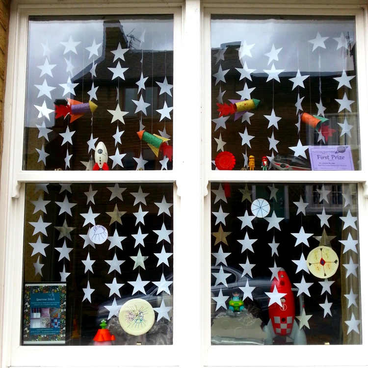 May Queen space window decorations