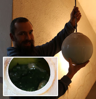 The light fitting full of green disgusting water