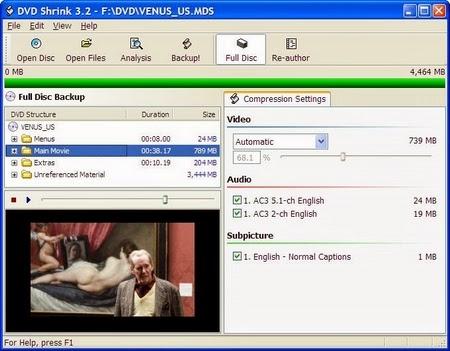 برنامج dvd shrink 2014 لتقليل من حجم الفيديوهات