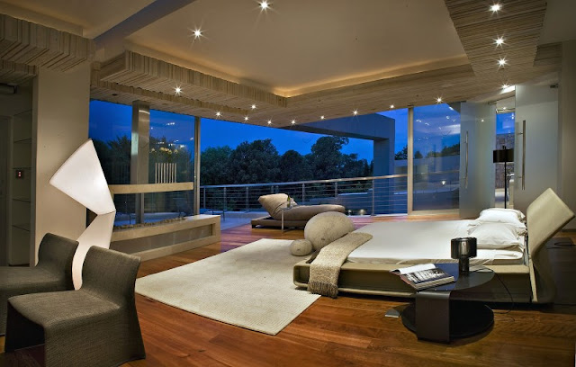 Photo of beautiful bedroom with gray furniture