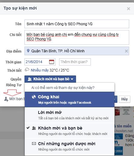 Cách tạo, mời sự kiện (Events) trên Facebook (FB)