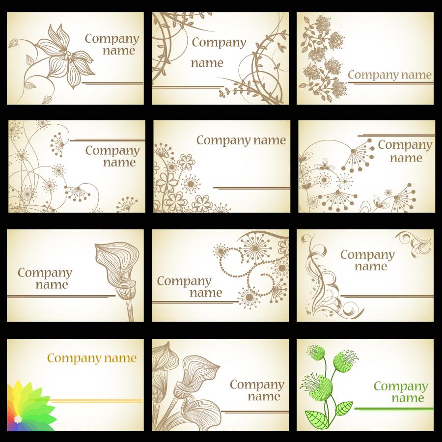 シンプルな植物柄の名刺テンプレート simple flower card template イラスト素材