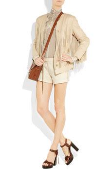 Carson Fringed Super Soft Vanilla Leather Jacket