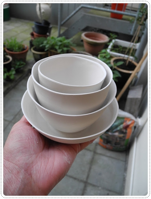 Perfectly imperfect set of four - slip casted porcelain