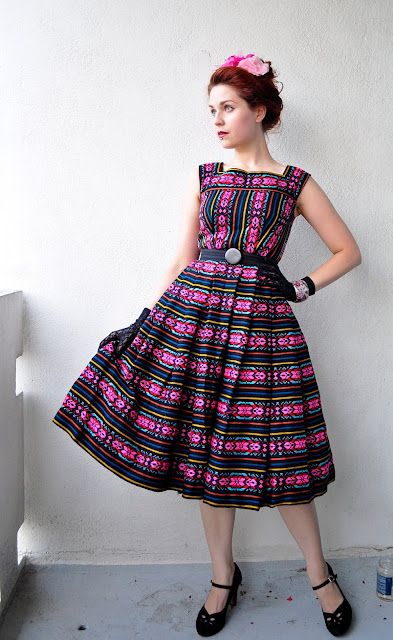mexican inspired dress from traditional mexican fabric at Vintage Follies
