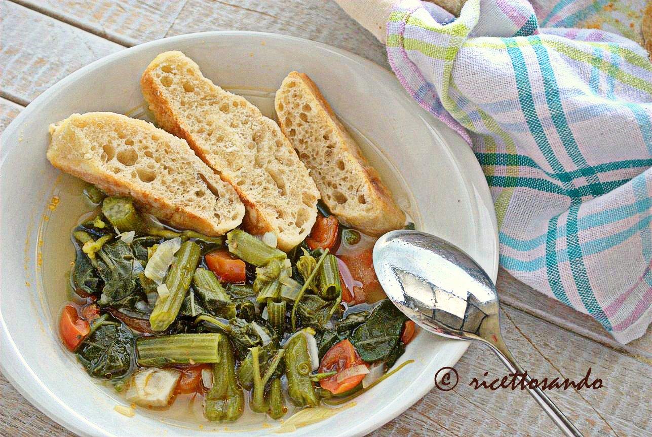 Minestra estiva light con germogli di zucchina serviamo con pane bruschettato
