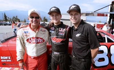 Butch Gilliland, grandson Todd, and son David at Irwindale Speedway in California