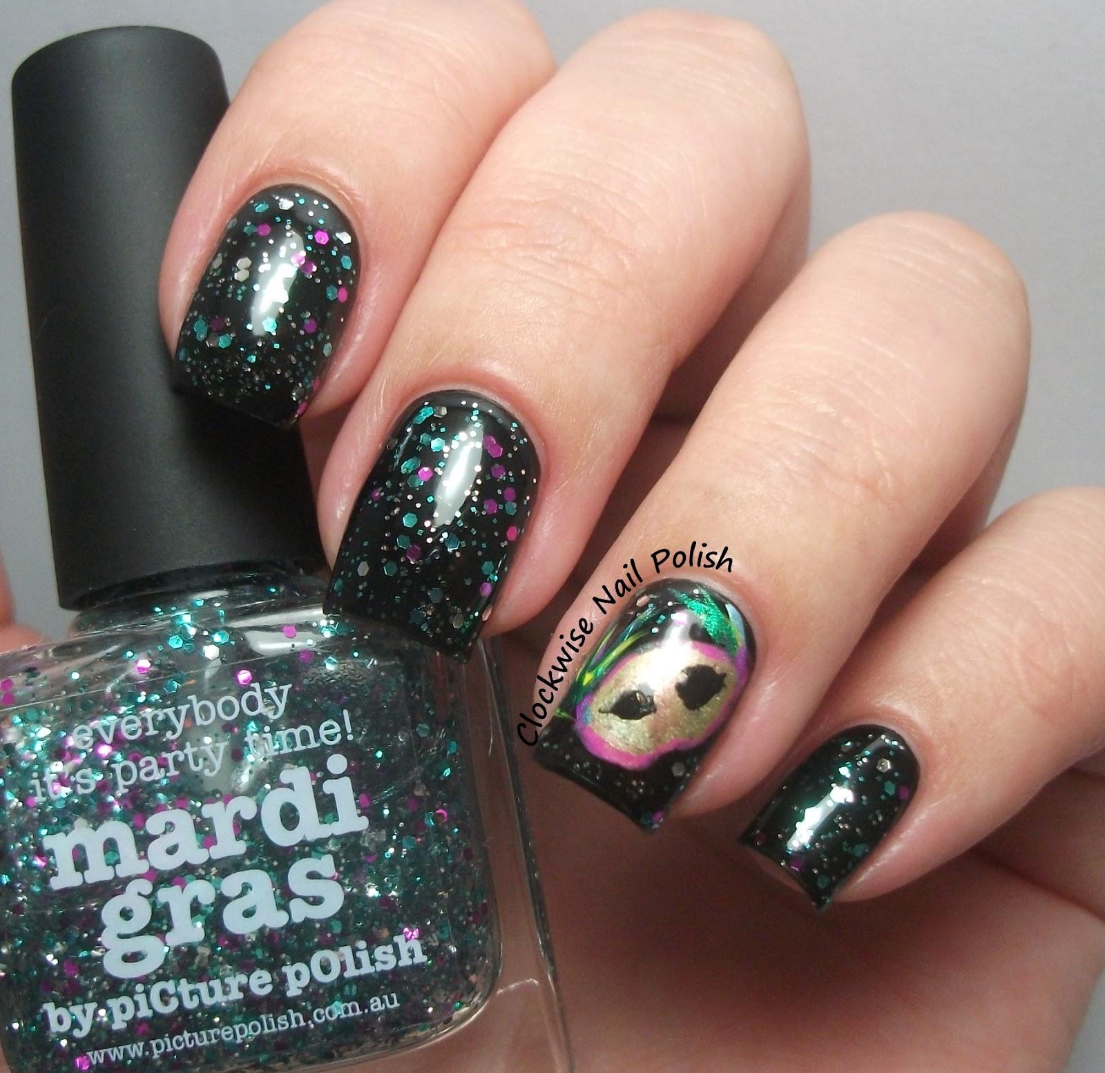 The Clockwise Nail Polish: Mardi Gras Nail Art