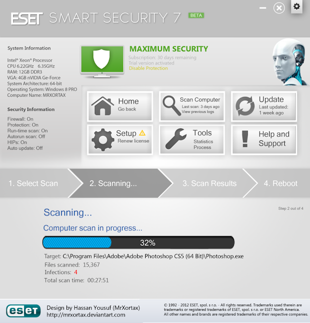 ESET NOD32 Antivirus 7.0.28.0 Beta (x86/x64) + Serial Key Free Download