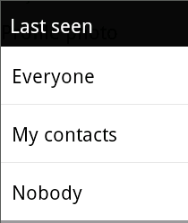 whatsapp last seen every one, my contact and nobody