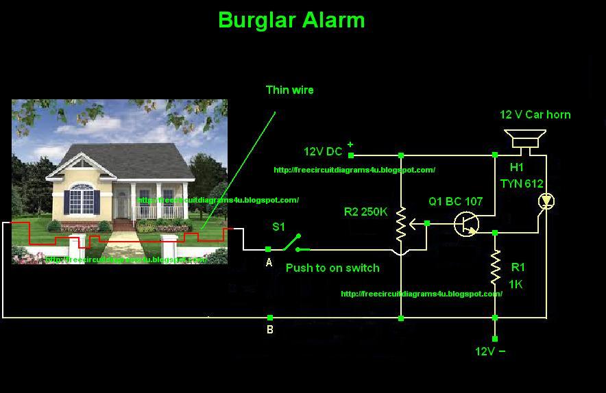 free circuit diagrams 4u burglar alarm