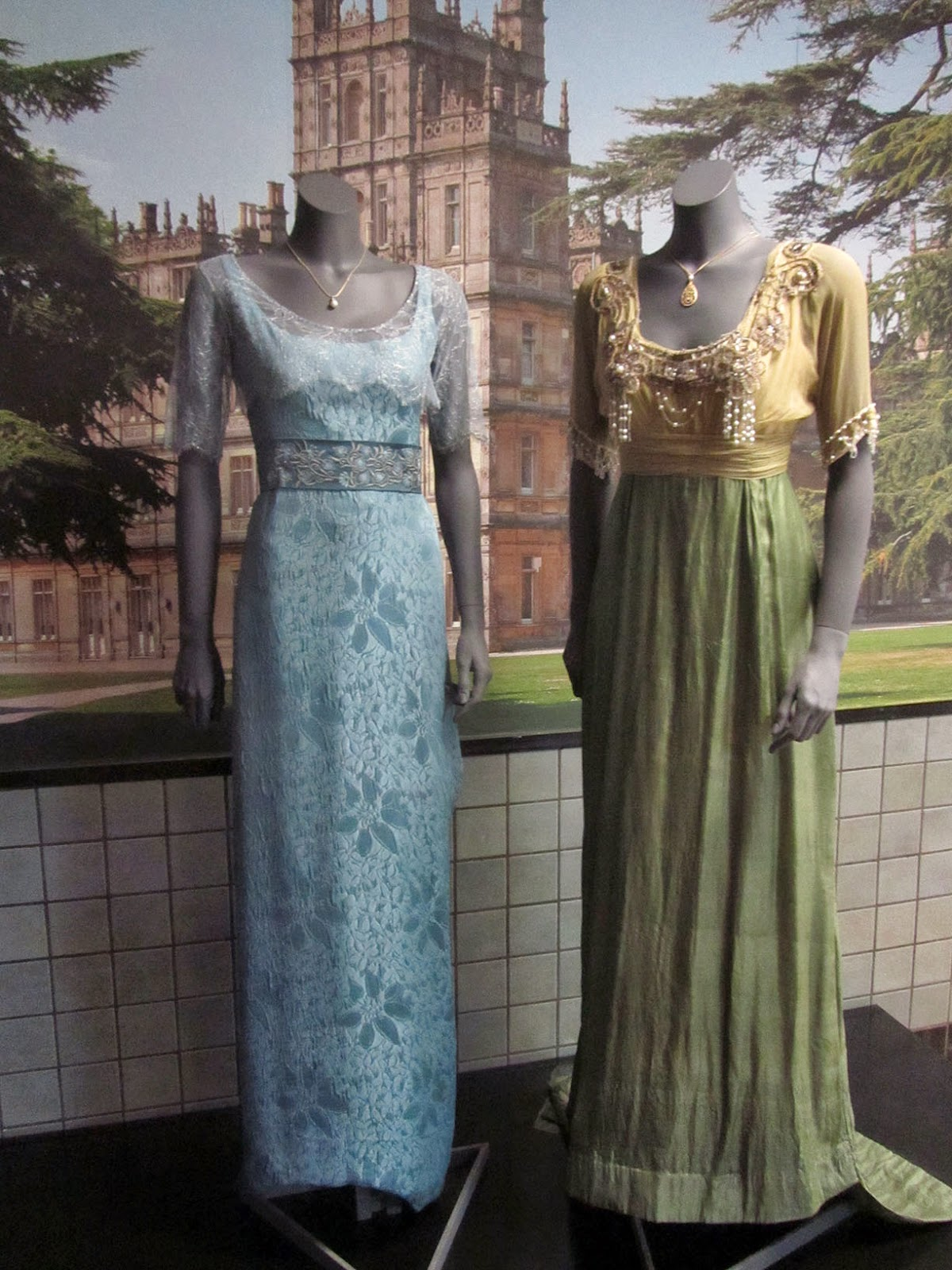 two dresses from TV series Downton Abbey